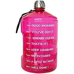 BuildLife 1 Gallon Water Bottle Motivational Fitness Workout with Time Marker|Drink More Water Daily|Clear BPA-Free|Large 128OZ of Water Throughout The Day (1 Gallon-Pink, 1 Gallon)