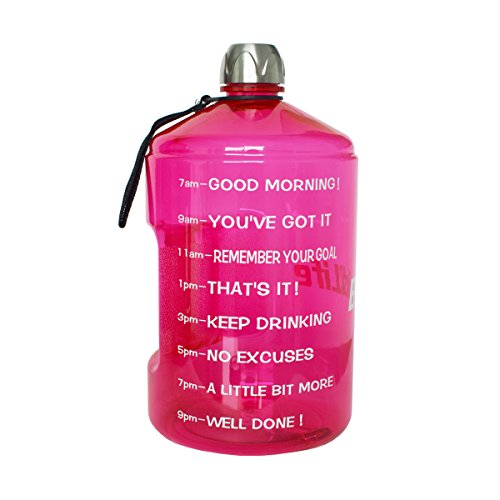 BuildLife 1 Gallon Water Bottle Motivational Fitness Workout with Time Marker |Drink More Water Daily | Clear BPA-Free | Large 128 Ounce/43OZ of Water Throughout The Day (1 Gallon-Pink, 1 Gallon)