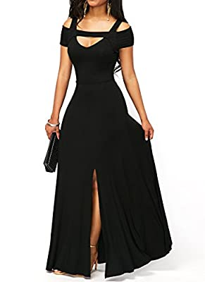 ONLYSHE Women's V Neck Short Sleeve Cold Shoulder Full Length Maxi Formal Party Dress