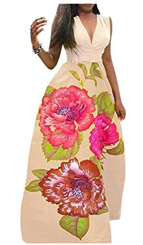 Maxi La Donne 1 Ainr Lunga Vestito Tunica Ha Casuale Dresss Delle Maxi Floreale Stampato SdUwgxZqw