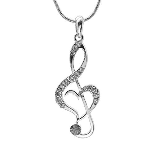SpinningDaisy Silver Plated Crystal Treble Clef Necklace (Clear Crystals)