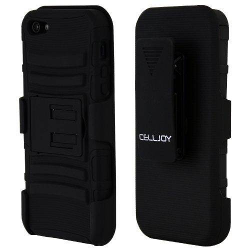 CellJoy Tough Rugged Layered Extreme Hybrid Belt Clip Holster Case for iPhone 5 (Stealth Black)
