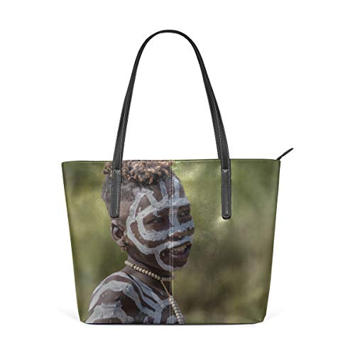 Laptop Tote Bag Men Wear Traditional Clothes With Paints On Their Faces Large Printed Shoulder Bags Handbag Pu Leather Top Handle Satchel Purse Lightweight Work Tote Bag For Women Girls