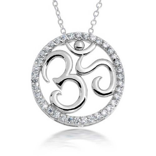 Bling Jewelry CZ Aum Medallion Open Circle Pendant Rhodium Plated Necklace 16 Inches