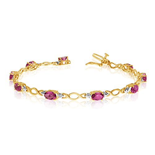 (10K Yellow Gold Oval Ruby and Diamond Bracelet (9 Inch Length))