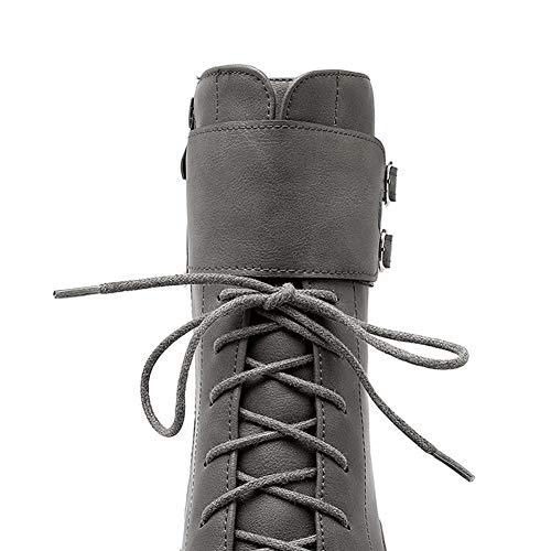 Lace scarpe corta Up Inverno Autunno tonda Stivaletti fibbia Moto signore punta donna alti piattaforma peluche grigie tacchi wqvYZX