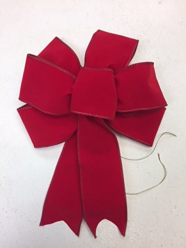 Wired Red Velvet Bow Ribbon Handmade Holiday Bow 8 - 9 Inches in Diameter - Red Hand Made Bow By Wreaths For Door