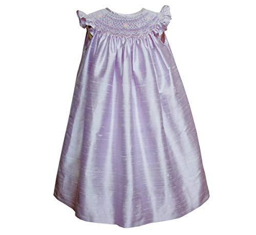(Carouselwear Smocked Flower Girls Silk Bishop Dress Special Occasion Lavender)