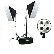 CanadianStudio 4 socket photography portrait Photo Studio continuous lighting Softbox light kit with 2 light stands, 2 4-socket light heads, 2 softboxes and carrying case