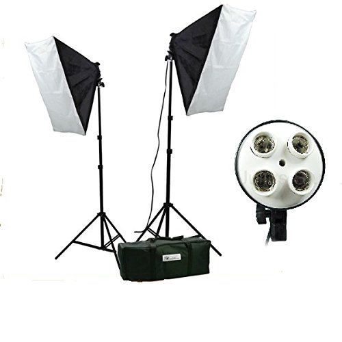 CanadianStudio 4 socket photography portrait Photo Studio continuous lighting Softbox light kit with 2 light stands, 2 4-socket light heads, 2 softboxes and carrying case VL-9040B
