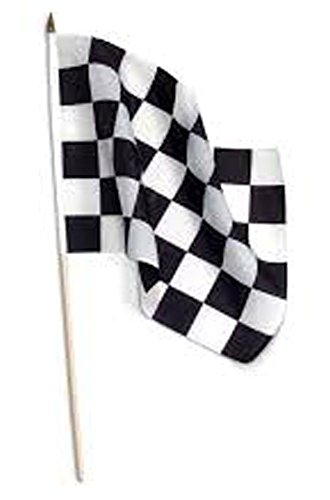12 ( 1 Dozen ) Checkered Black White Racing 12 X 18 Flag on Wood Stick Review