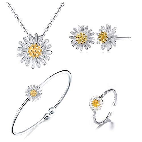(925 Sterling Silver Daisy/SAKURA/Snowflake Flower Crystal Pendant Necklace Earring Bracelets Ring Set for Women (Fresh Love As Daisy Set))