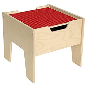 2-N-1 Activity Table with Red Lego Compatible Top - Fully Assembled