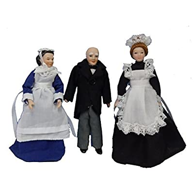 Melody Jane Dollhouse Victorian Servants Butler, Parlour & Chamber Maid Set 3: Toys & Games