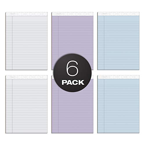 """TOPS Prism+ Writing Pads, 8-1/2"""" x 11-3/4"""", Assorted Colors 2 Each: Gray, Orchid, Blue, Legal Rule, 50 Sheets, Perforated Pages, 6 Pack (63116)"""