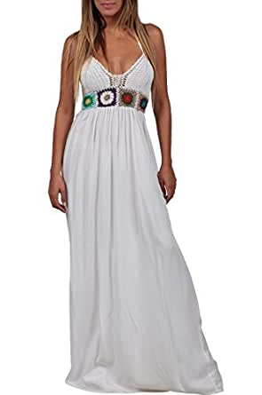 Ingear Maxi Dress Beach Crochet Backless Bohemian Halter Embroidered Cover Up (Small/Medium, White)