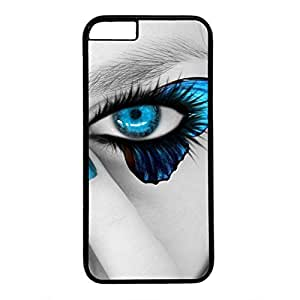 Hard Back Cover Case for iphone 6 Plus,Cool Fashion Black PC Shell Skin for iphone 6 Plus with Blue Butterfly Eyes