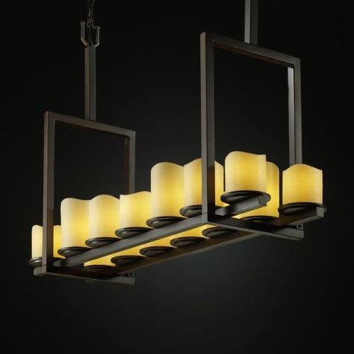 - Justice Design CNDL-8764-14-CREM-DBRZ, CandleAria Dakota Chandelier Lighting, 14LT, 840w, Bronze