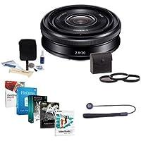 Sony 20mm F2.8 Alpha E-mount NEX Camera Lens, Black - Bundle with 49mm Filter Kit (UV/CPL/ND2), Cleaning Kit, Lenscap Leash, Professional Software Package