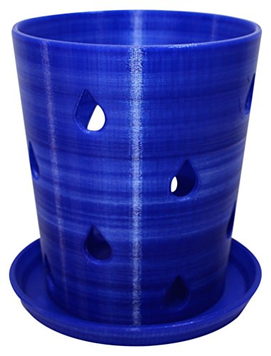 HD PRINTABLES Orchid Pot and Tray, 5.5 L x 5.5 W, Translucent Blue