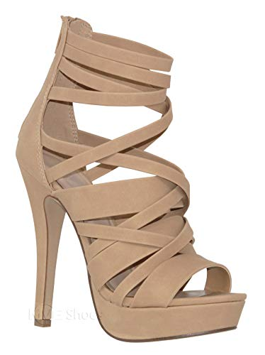 (MVE Shoes Women's Strappy Platform Open Toe High Heels, NAT Nbpu Size 8)