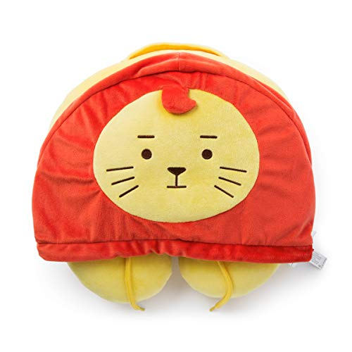 ROY6 Merchandise with Line Friends - ROYAN Character Neck Travel Pillow Cushion, Red (Lion Neck Pillow)