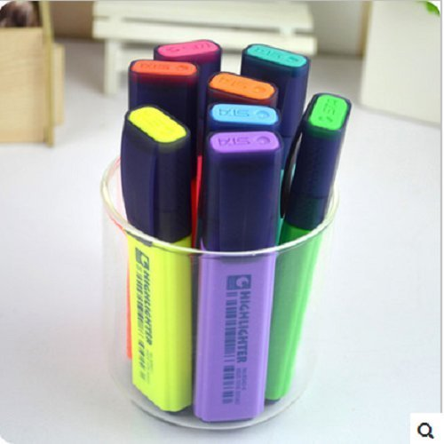 UDTEE 1Pack New/Praticle Green/Blue/Yellow/Red/Purple/Hot Pink/Orange/Blue-green Color Cute-Style Highlighters/Nite Writer Pens,Pack of 10