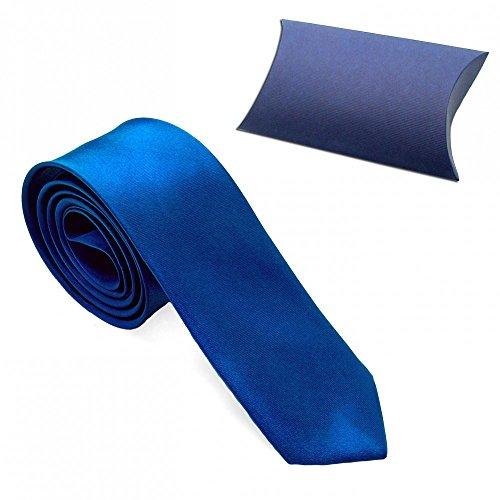 1 Cravatta Corbata Corbatas Tie Moderna 23 Modelos Mirada Seda Hombre Delgado Poliéster Traje Carnaval Negro Blanco Azul blau + Etui / blue + giftbox