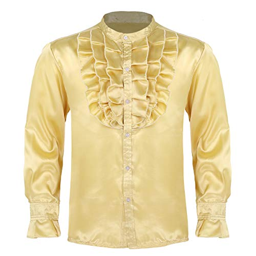 winying Mens Ruffled Silk Satin Long Sleeve Button Down Slim Fit Vintage Wedding Tuxedo Dress Shirts Gold Large ()