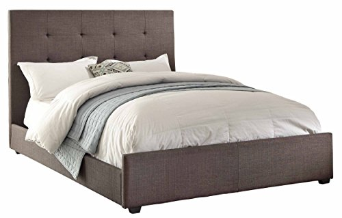Platform Eastern King Home Elegance - Homelegance 1890KN-1EK Eastern King Size Upholstered Bed, Grey Fabric