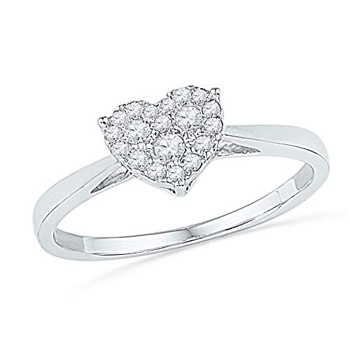 Jewel Tie - Size 7 - Solid 10k White Gold Round Diamond Simple Heart Cluster Ring 1/6 Cttw.