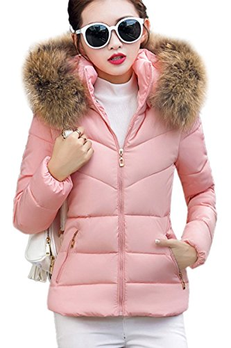 YMING Women's Comfy Slim Warm Comfy Jacket Hooded Down Coat Pink,2XS