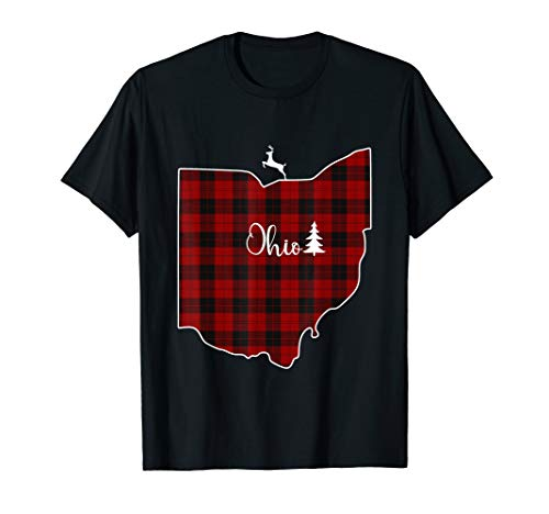 Ohio State Red Plaid Reindeer Xmas Tree Gift Family Shirt ()
