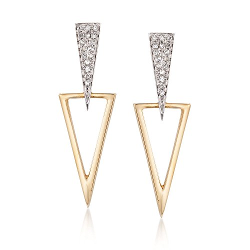 Ross-Simons .12 ct. t.w. Diamond Jewelry Set: Earrings and Earring Jackets in 14kt Two-Tone Gold (14kt Earrings 2 Diamond Tone)
