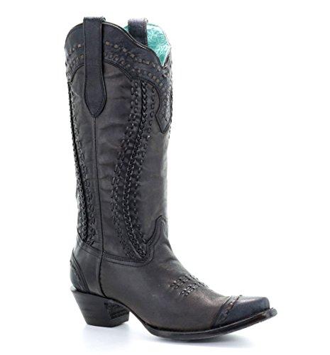 Zwart Geweven En Gevlochten Laarzen Voor Dames Zwart A3324 Zwart