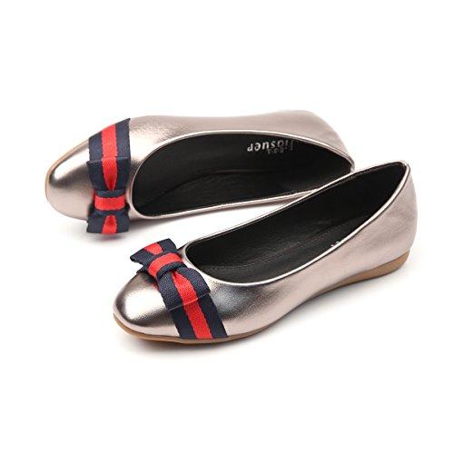Meeshine Womens Bow Ballet Flats Comfort Slip On Wedding Flat Dress Shoes Grey Kw8X4b3gj