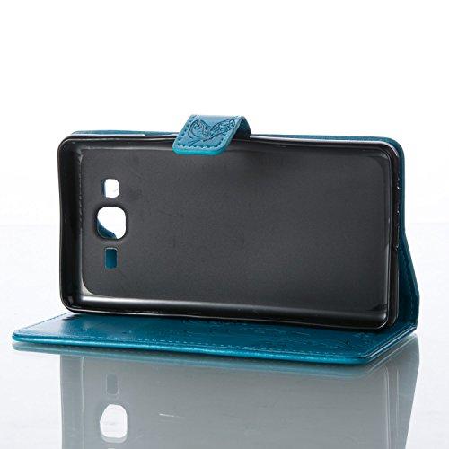 Funda Samsung Galaxy On7 OuDu Carcasa de Billetera Funda PU Cuero Carcasa Suave Protectora con Correas de Teléfono Funda Arbol Flip Wallet Case Cover Bumper Carcasa Flexible Ligero Ultra Delgado Caja  Azul