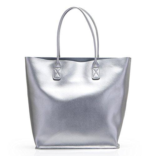 Wholesale Designer Purses (SUNROLAN Large Leather Shopping Handbag Style Multi-Purpose 2-1 Tote Bag Silver lf666yin)