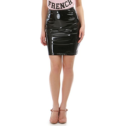 La Modeuse - Jupe Courte en Vinyle  Taille Haute Noir
