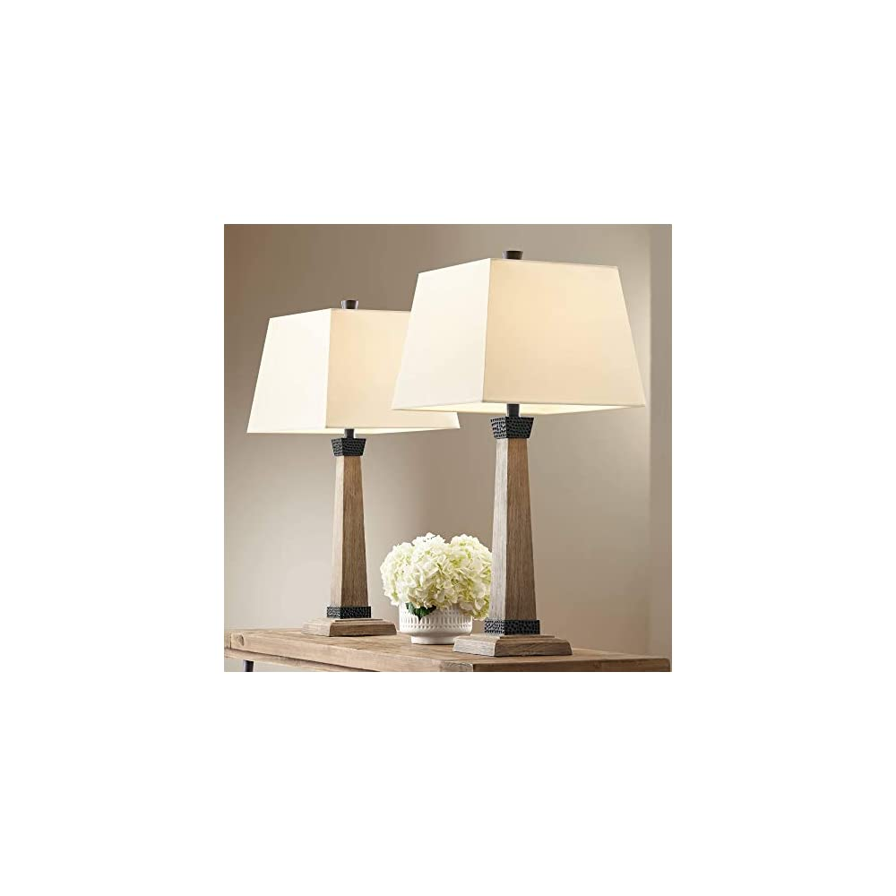 Buchan Rustic Modern Farmhouse Table Lamps Set of 2 Brown Wood Oatmeal Square Tapered Shade Decor for Living Room…