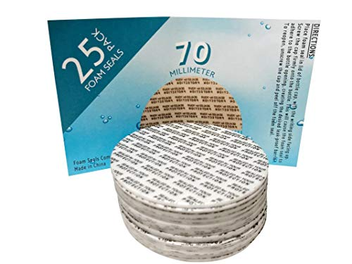[25 Count] 70mm Pressure Sensitive PS Foam Seals Caps Liners