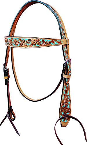 Oxbow Floral Tooling Headstalls with Painted Turquoise Inlay (Full - Southwestern Inlay