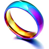 Sumanee Creative 6mm Rainbow Colorful Ring Titanium Steel Wedding Band Ring Size 6-10 (9)