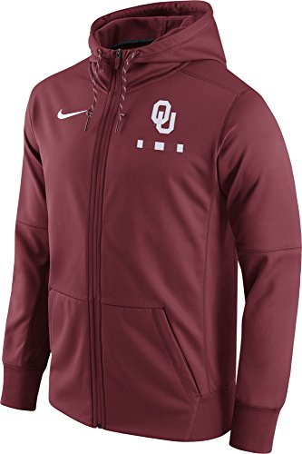 Nike Men's Oklahoma Sooners Crimson Therma-FIT Full-Zip Football Hoodie (L) by NIKE