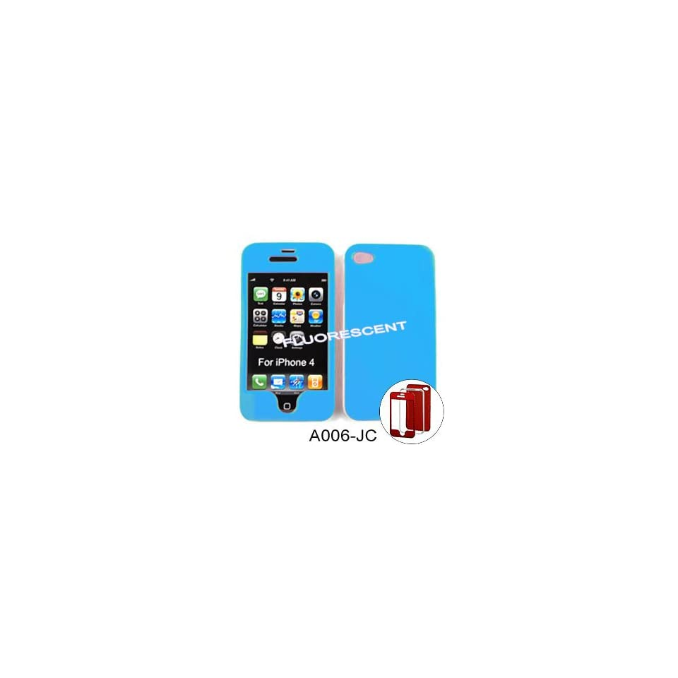 iPhone 4 (At&t/Verizon) Fluorescent Solid Light Blue Hard Case,Cover