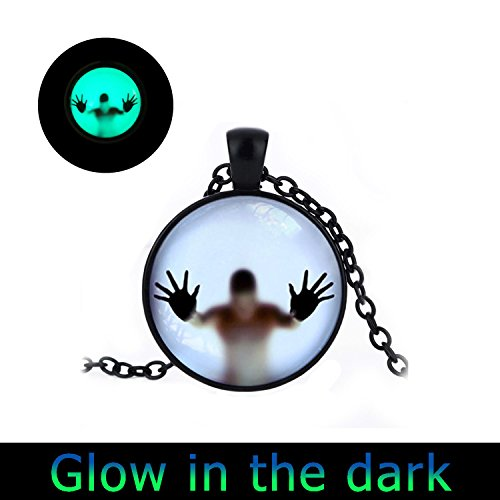 GlowlalaGlowing Man behind the glass Glow in the dark necklace Scary jewelry Glowing man Unusual necklace Man in the glass Man in the dark Glow Man necklace - Glasses With Cartoon Man