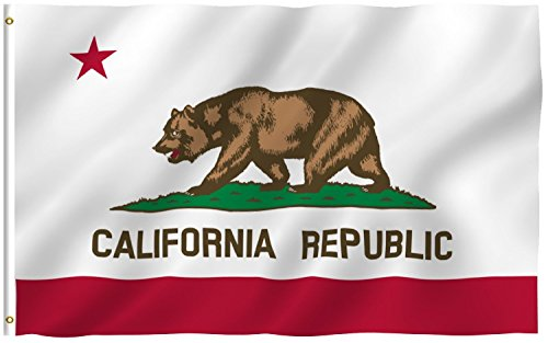 - G128 - California State Flag | 3x5 feet | Printed - Vibrant Colors, Brass Grommets, Quality Polyester