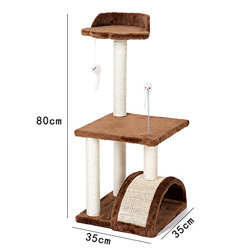Pethouzz 3 Layer luxury Cat Scratching Post Tree & Condos Cat Climbing Frame Cats Play Castle (Brown)