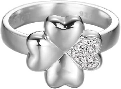 ESPRIT Women's Lucky Love Ring Sterling Silver 925/1000 5.3 G Cubic Zirconia White
