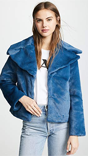 Yumi Kim Womens Textured Night Out Faux Fur Coat Blue XS